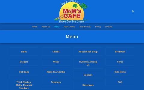 Screenshot of Menu Page cafemnm.com - Menu ‹ M&M's Cafe - captured Oct. 1, 2018