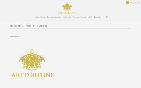 Screenshot of Press Page artfortune.com - Press   Art Fortune LLC - captured Nov. 6, 2018