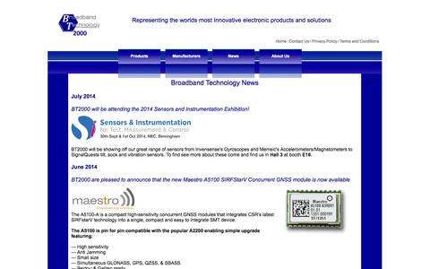 Screenshot of Press Page bt2000.co.uk - News and Press Releases - Broadband Technology - captured Oct. 5, 2014