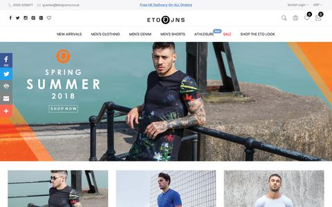 Screenshot of Home Page etojeans.co.uk - ETO Jeans Official Online Store // Mens Fashion Jeans and Clothing Apparel - captured July 15, 2018