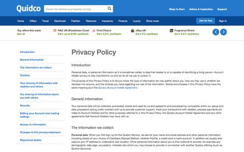 Screenshot of Privacy Page quidco.com - Quidco - The UK's #1 Cashback Site - captured Nov. 3, 2017