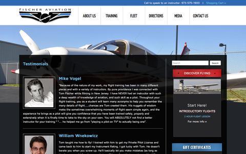 Screenshot of Testimonials Page fischeraviation.com - Testimonials from Student Pilots, Private & Instrument Pilots | NY / NJ Flight School - captured Aug. 14, 2018