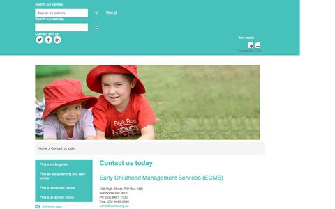 Screenshot of Contact Page ecms.org.au - Contact us   Early Childhood Management Services - captured Oct. 18, 2016