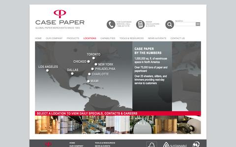 Screenshot of Locations Page casepaper.com - Locations | Offices - Warehouses | NY - PA - IL - FL - NC - CA - Canada | Case Paper - captured Sept. 24, 2014