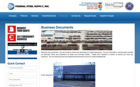 Screenshot of Terms Page fedsteel.com - Business Documents   Steel Supply   Pipe & Tube   Carbon, Alloy, Stainless Steel   Federal Steel Supply - 800.325.1584 - captured Feb. 9, 2016