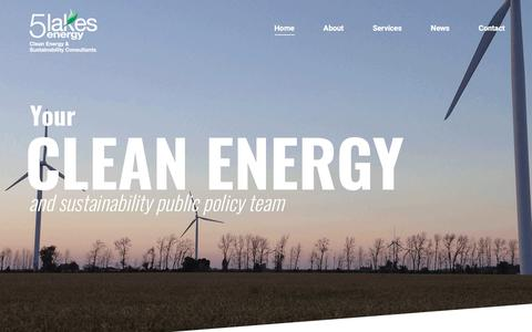 Screenshot of Home Page 5lakesenergy.com - 5LakesEnergy – 5 Lakes Energy is a Michigan-based policy consulting firm dedicated to advancing policies and programs that promote clean energy, sustainability and the environment. - captured Sept. 20, 2018