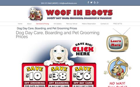 Screenshot of Pricing Page woofinboots.com - Denver Dog Care - Pricing - captured Feb. 26, 2016