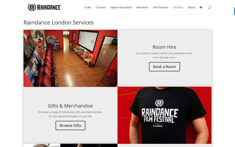 Screenshot of Services Page raindance.org - Services - Raindance - captured June 16, 2019