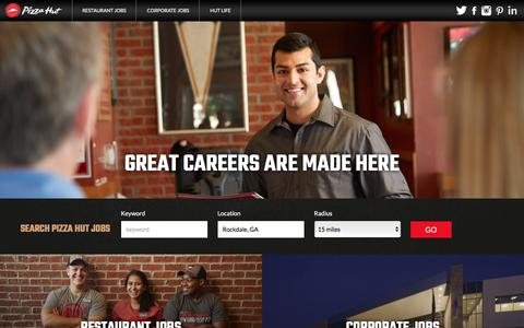 Screenshot of Jobs Page pizzahut.com - Working at Pizza Hut - captured April 8, 2016