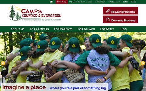 Screenshot of Home Page kenwood-evergreen.com - Camps Kenwood & Evergreen - For Boys and Girls - captured Oct. 1, 2014