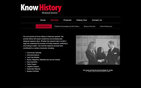 Screenshot of Services Page knowhistory.ca - Historical Services | Know History - captured Sept. 30, 2014