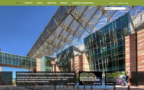 Screenshot of Home Page mka.com - Magnusson Klemencic Associates | MKA - captured Oct. 4, 2014