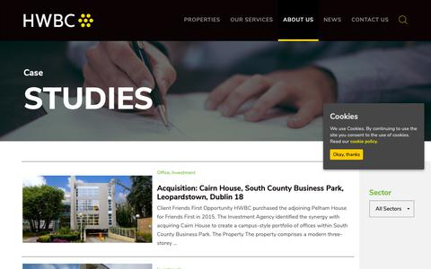 Screenshot of Case Studies Page hwbc.ie - Case Studies - HWBC | Commercial Property, Investments, Office for Sale Ireland - captured Sept. 26, 2018