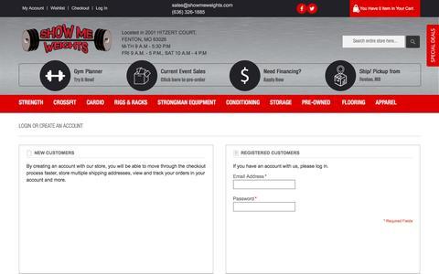 Screenshot of Login Page showmeweights.com - Customer Login - captured Dec. 12, 2016