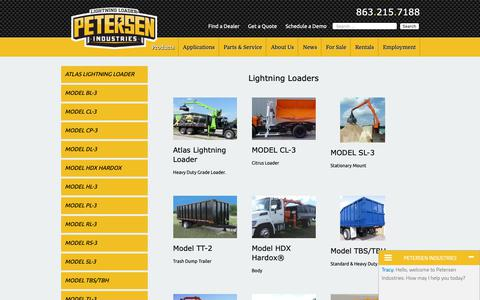 Screenshot of Products Page petersenind.com - Lightning Loaders® - Heavy-Duty Products - Petersen Industries - captured Sept. 27, 2018