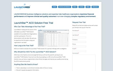 Screenshot of Trial Page launch-med.com - Free Trial - LaunchMed - captured Oct. 2, 2014