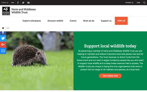 Screenshot of Signup Page hertswildlifetrust.org.uk - Join | Herts and Middlesex Wildlife Trust - captured Sept. 28, 2018