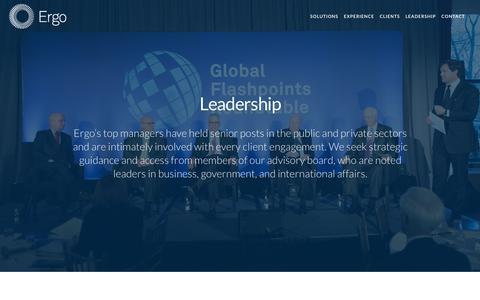 Screenshot of Team Page ergo.net - Leadership — Ergo - Global Intelligence - captured July 20, 2018