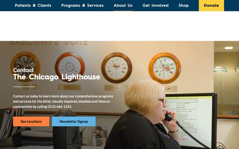Screenshot of Contact Page chicagolighthouse.org - Contact - The Chicago Lighthouse - captured Oct. 19, 2018