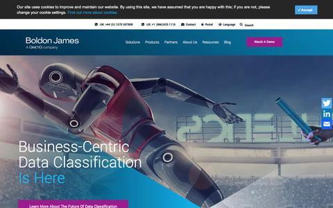 Screenshot of Home Page boldonjames.com - Boldon James - Data Classification & Secure Messaging - captured July 16, 2019