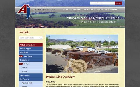 Screenshot of Products Page aj-vineyardsupply.com - Product Line Overview - A&J Vineyard Supply Inc. - captured Oct. 4, 2014