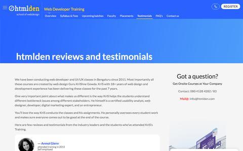 Screenshot of Testimonials Page htmlden.com - Reviews & Testimonials | htmlden - School of Webdesign, Bengaluru - captured Sept. 26, 2018