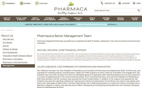 Screenshot of Team Page pharmaca.com - Management | Pharmaca - captured Nov. 10, 2015