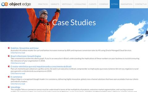 Screenshot of Case Studies Page objectedge.com - Oracle ATG Web Commerce Consulting & Services | Case Studies | Object Edge - captured Aug. 11, 2015