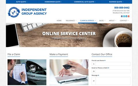 Screenshot of Support Page igainsurance.com - Service Your Insurance Policy | Independent Group Agency - captured Oct. 2, 2018