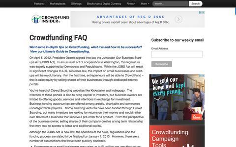 Screenshot of FAQ Page crowdfundinsider.com - Crowdfunding FAQ - Crowdfund Insider - captured July 10, 2017