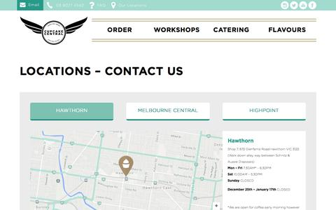 Screenshot of Contact Page Locations Page cupcakecentral.com.au - Locations - Contact us - Cupcake Central | Freshly Baked Cupcakes in Melbourne - Order Online for Delivery - captured Jan. 26, 2016