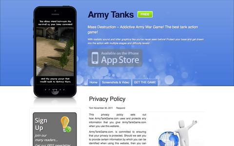 Screenshot of Privacy Page armytankgame.com - Privacy Policy - Army Tank Game - captured Sept. 30, 2014