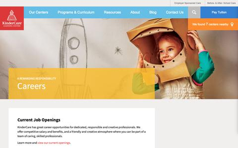 Screenshot of Jobs Page kindercare.com - Early Childhood & Employment Opportunities | KinderCare - captured Feb. 15, 2019