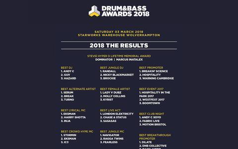 Screenshot of Home Page drumandbassawards.co.uk - Drum and Bass Awards 2018 at Starworks Warehouse Wolverhampton - captured Oct. 25, 2018