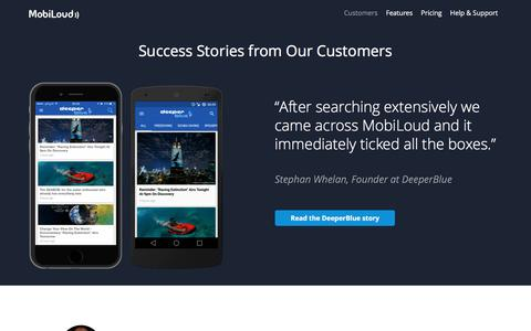 Screenshot of Case Studies Page mobiloud.com - Case Studies and Success Stories from MobiLoud Customers - MobiLoud - captured Feb. 9, 2016