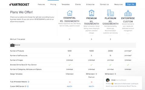 Screenshot of Pricing Page kartrocket.com - Chinki says... - captured May 9, 2017