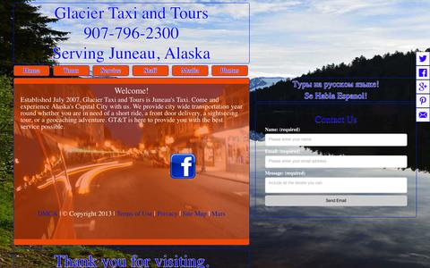 Screenshot of Home Page glaciertaxiandtours.com - Glacier Taxi and Tours | Juneau, Alaska - captured Sept. 20, 2015