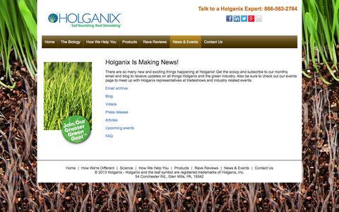 Screenshot of holganix.com - Holganix - News and events related to Holganix - captured March 19, 2016