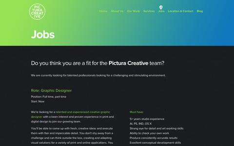 Screenshot of Jobs Page pictura.com.au - We Are Looking For Talented Professionals - Pictura Creative - captured Dec. 8, 2015
