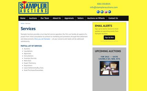 Screenshot of Services Page stamplerauctions.com - Services - Stampler Auctions - captured Jan. 12, 2016