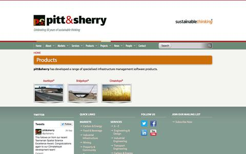 Screenshot of Products Page pittsh.com.au - pitt&sherry: Products - captured Oct. 2, 2014