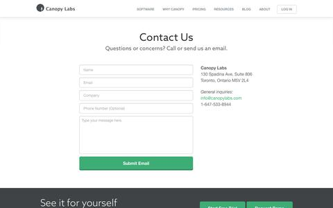 Contact Us - Canopy Labs