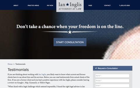 Screenshot of Testimonials Page inglisdefense.com - Testimonials | Ian Inglis - captured Oct. 6, 2014