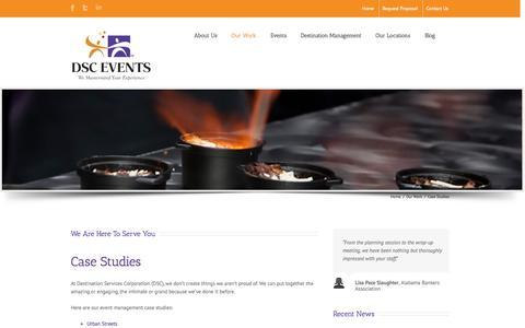 Screenshot of Case Studies Page dsc-co.com - Event Management Case Studies by Destination Services - captured Oct. 5, 2014