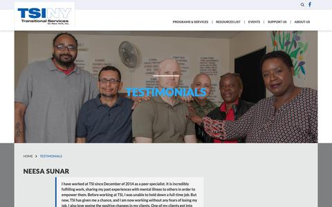 Screenshot of Testimonials Page tsiny.org - Transitional Services for New York Inc.Testimonials - Transitional Services for New York Inc. - captured Oct. 19, 2018
