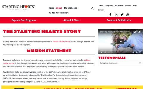 Screenshot of About Page startinghearts.org - About Starting Hearts & Founder Lynn Blake | Starting Hearts - captured July 13, 2018