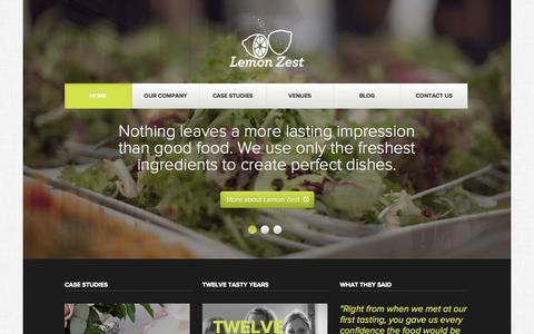 Screenshot of Home Page lemon-zest.co.uk - Lemon Zest - Contemporary Cuisine - captured Oct. 2, 2014