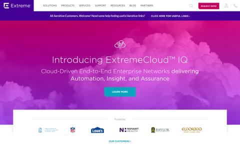 Screenshot of Home Page extremenetworks.com - Customer-Driven Enterprise Networking Solutions - Extreme Networks - captured Nov. 22, 2019