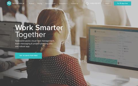 Screenshot of Home Page taskworld.com - Taskworld : Work Smarter Together - captured Oct. 29, 2017