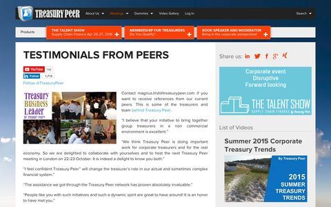Screenshot of Testimonials Page treasurypeer.com - Testimonials from peers - Treasury PeerTreasury Peer - captured Dec. 12, 2015